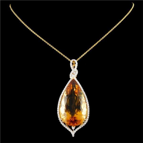 14K Gold 41.37ct Citrine & 1.05ctw Diamond Pendant