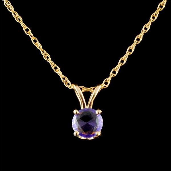 14K Gold 0.54ctw Sapphire Pendant