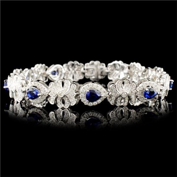 14K Gold 3.34ct Sapphire & 2.11ctw Diamond Bracele