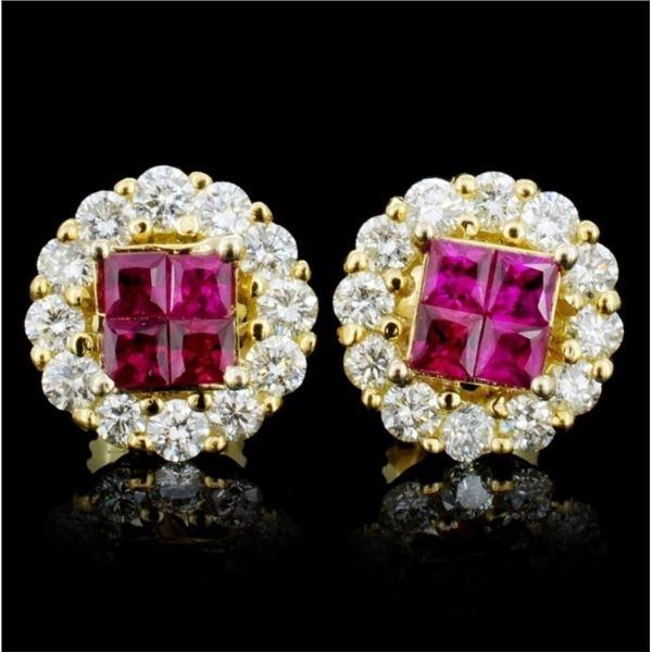 18K Gold 0.70ct Ruby & 0.86ct Diamond Earrings