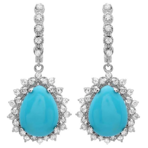 14K Gold 11ct Turquoise & 2.00ct Diamond Earrings