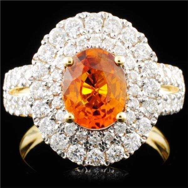 18K Gold 1.87ct Sapphire & 1.16ctw Diamond Ring