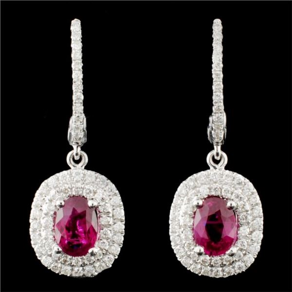 18K Gold 1.27ctw Ruby & 0.50ctw Diamond Earrings