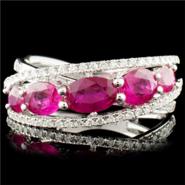 18K Gold 1.67ct Ruby & 0.29ctw Diamond Ring