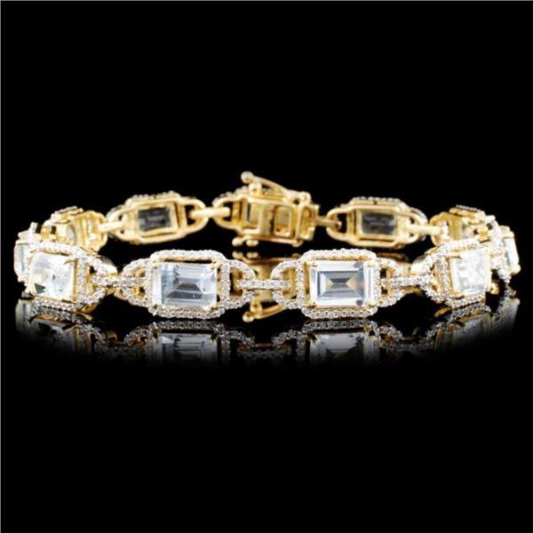 14K Gold 11.79ctw Aquamarine & 1.38ctw Diamond Bra