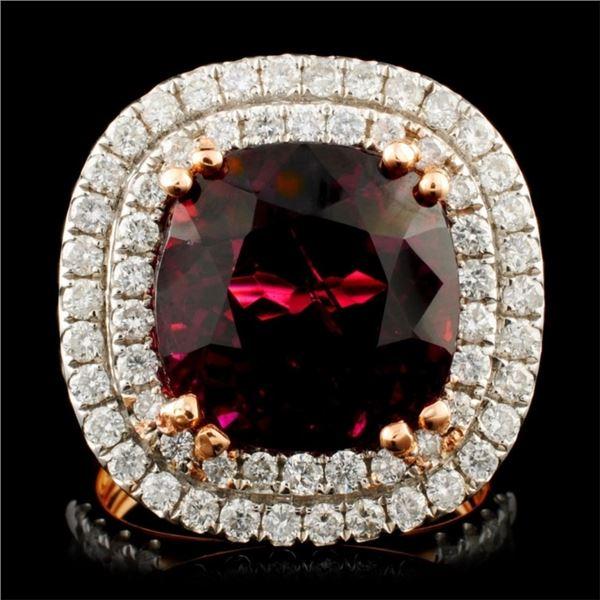 18K Gold 8.65ct Rubellite & 1.44ctw Diamond Ring