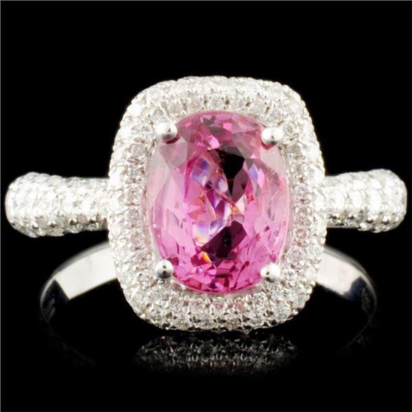 18K Gold 2.11ct Spinel & 0.95ctw Diamond Ring