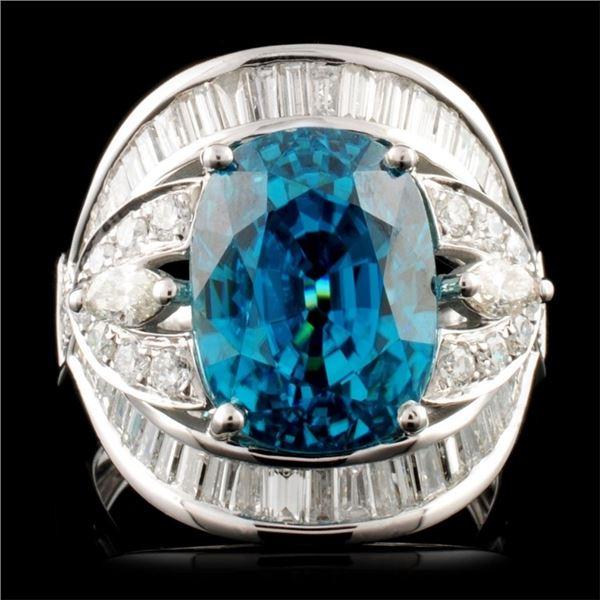18K Gold 11.99ct Zircon & 1.81ctw Diamond Ring