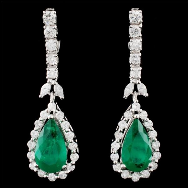 18K Gold 4.41ctw Emerald & 1.66ctw Diamond Earring