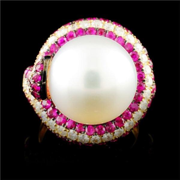 18K Gold 13.50MM Pearl & 0.78ctw Diamond Ring