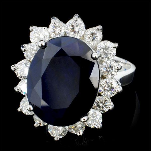 14K Gold 7.00ct Sapphire & 1.50ctw Diamond Ring