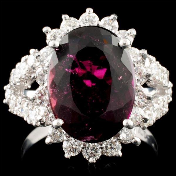 14K Gold 5.23ct Tourmaline & 0.42ctw Diamond Ring