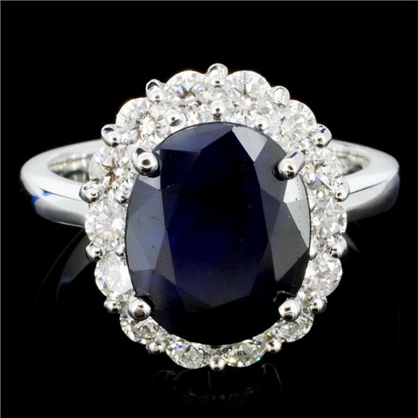 14K Gold 4.00ct Sapphire & 1.00ctw Diamond Ring