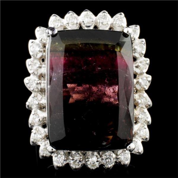 14K Gold 24.06ct Tourmaline & 0.77ctw Diamond Ring