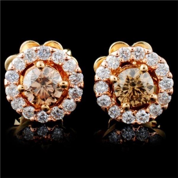 14K Gold 0.63ctw Fancy Diamond Earrings
