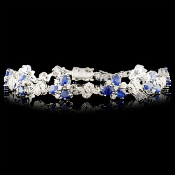 14K Gold 6.70ct Sapphire & 1.65ctw Diamond Bracele