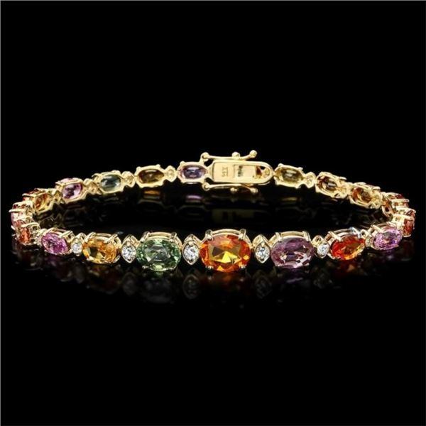 14k Gold 15.00ct Sapphire & 0.70ct Diamond Bracel