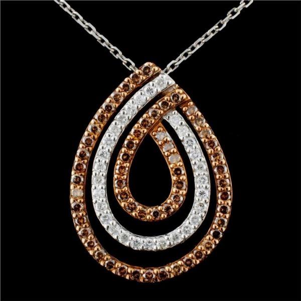 14K Gold 1.06ctw Fancy Diamond Pendant