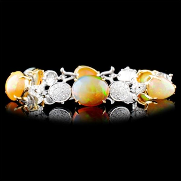 18K Gold 19.00ct Opal & 2.23ctw Diamond Bracelet