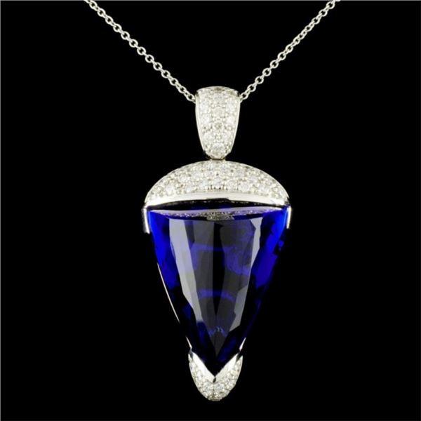 18K Gold 26.25ct Tanzanite & 0.80ctw Diamond Penda