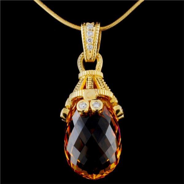 18K Yellow Gold 16.79ct Citrine & 0.24ct Diamond P