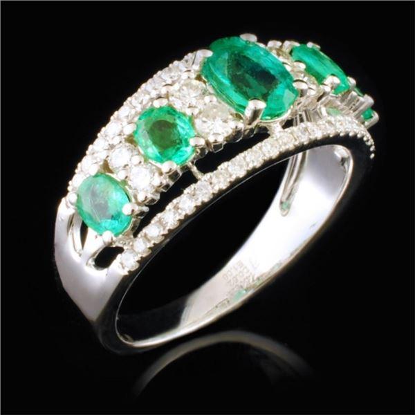 14K White Gold 1.08ct Emerald & 0.25ctw Diamond Ri