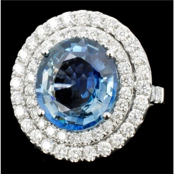18K Gold 6.74ct Sapphire & 1.31ct Diamond Ring