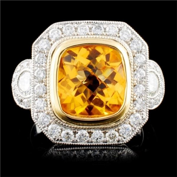 18K TT Gold 2.50ct Citrine & 0.90ctw Diamond Ring