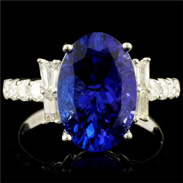 18K Gold 4.28ct Tanzanite & 0.67ctw Diamond Ring