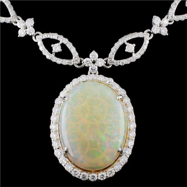 18K White Gold 17.25ct Opal & 10.73ct Diamond Neck
