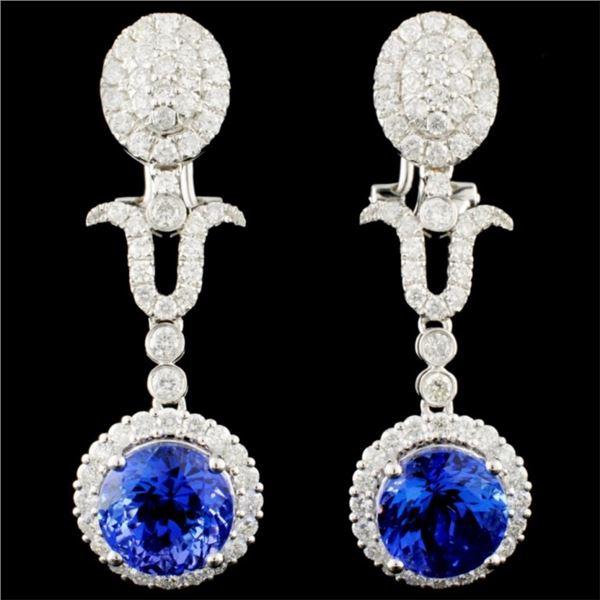 18K Gold 7.02ct Tanzanite & 2.03ctw Diamond Earrin