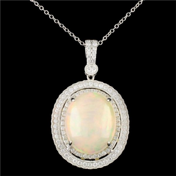 18K Gold 12.26ct Opal & 1.13ctw Diamond Pendant