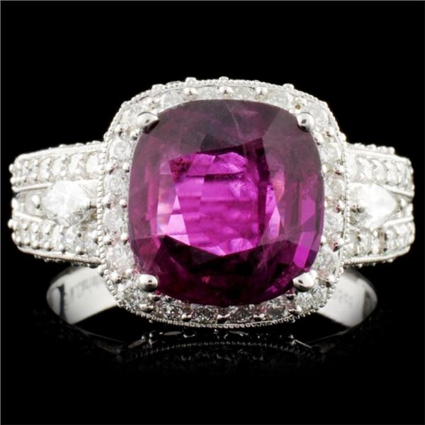 18K Gold 3.71ct Ruby & 1.39ctw Diamond Ring