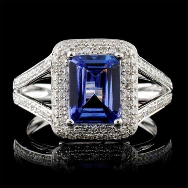 14K White Gold 1.49ct Tanzanite & 0.42ct Diamond R