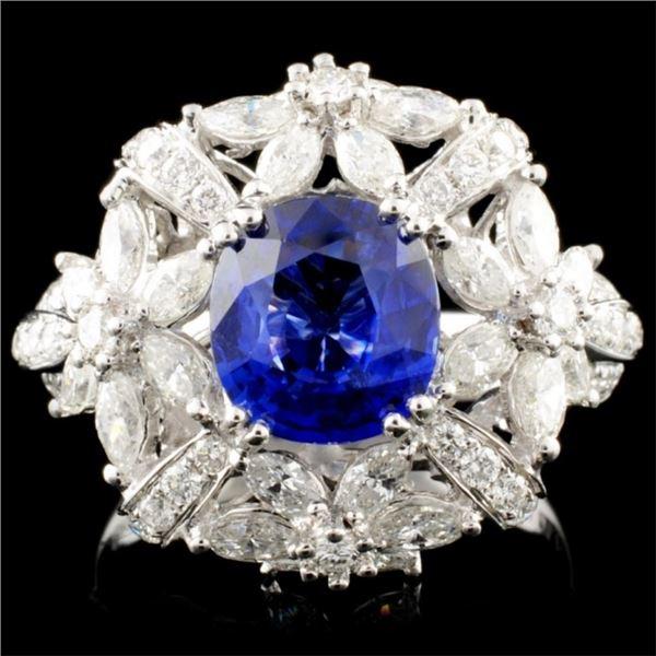 18K Gold 2.01ct Sapphire & 1.77ctw Diamond Ring