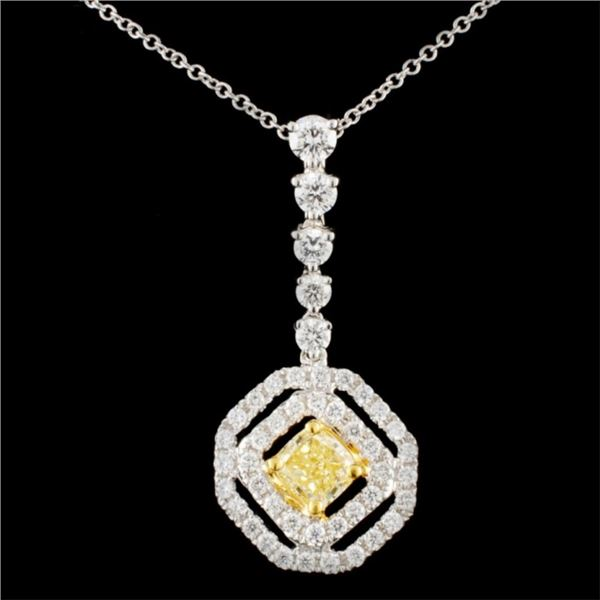 18K Gold 1.17ctw Fancy Diamond Pendant
