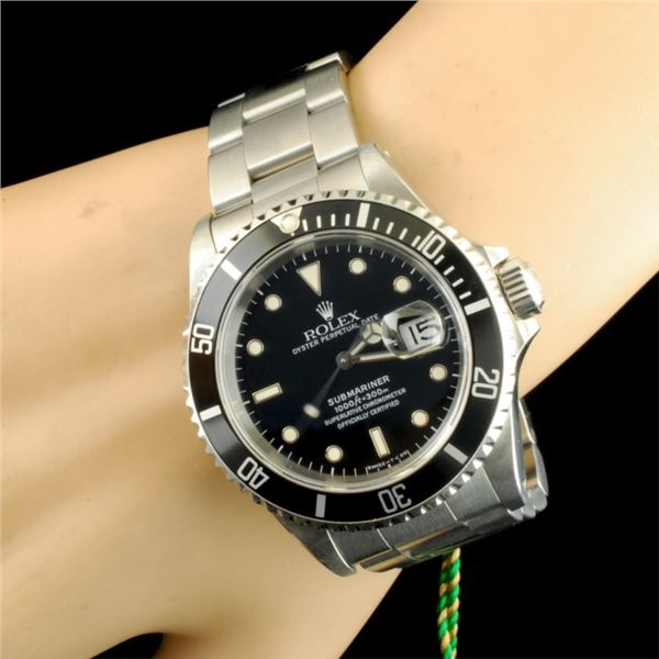 Rolex Black Submariner SS 40MM Wristwatch
