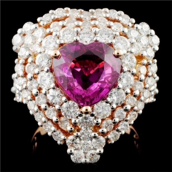 18K Gold 3.50ct Sapphire & 2.63ct Diamond Ring