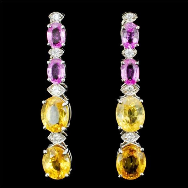 14K Gold 2.00ct Sapphire & 0.35ctw Diamond Earring