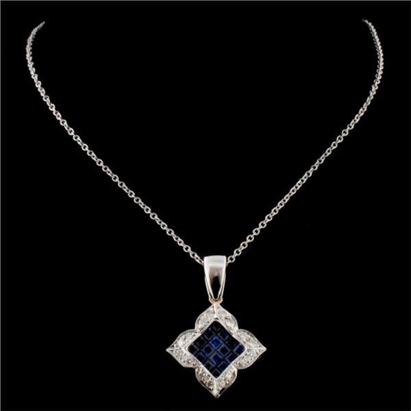 18K Two Tone 0.91ct Sapphire & 0.25ct Diamond Pend
