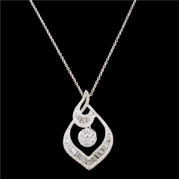 18k White Gold 0.85ctw Diamond Pendant