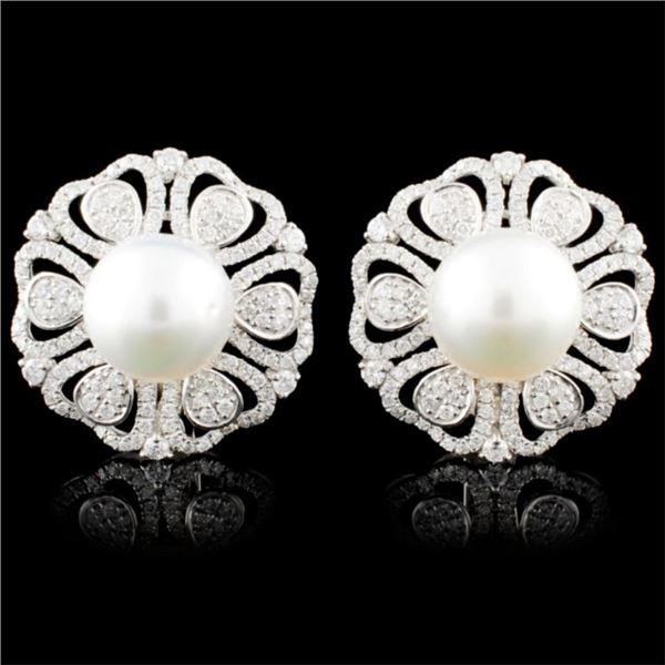 18K Gold 11MM Pearl & 2.04ctw Diamond Earrings