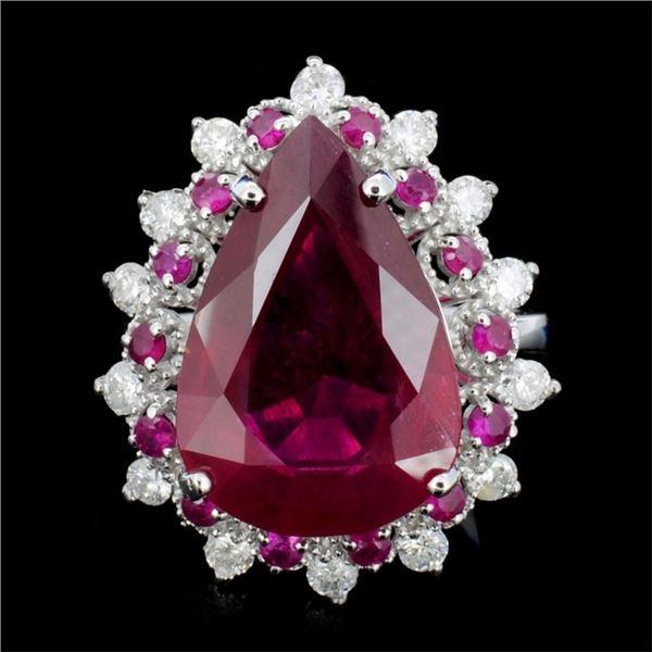 14K Gold 10.00ct Ruby & 0.75ctw Diamond Ring