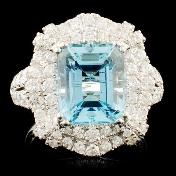 18K Gold 3.87ct Aquamarine & 1.56ctw Diamond Ring