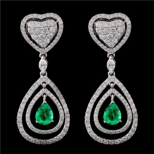 18K White Gold 1.29ct Emerald & 2.30ct Diamond Ear