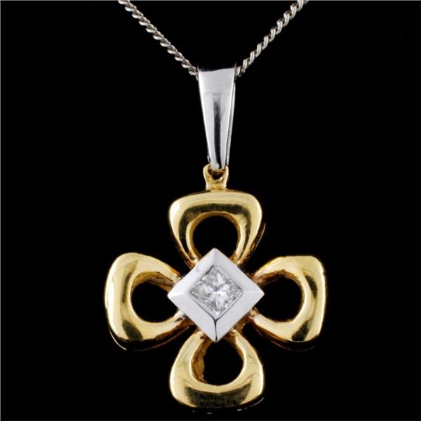 18K Two Tone Gold 0.30ct Diamond Pendant