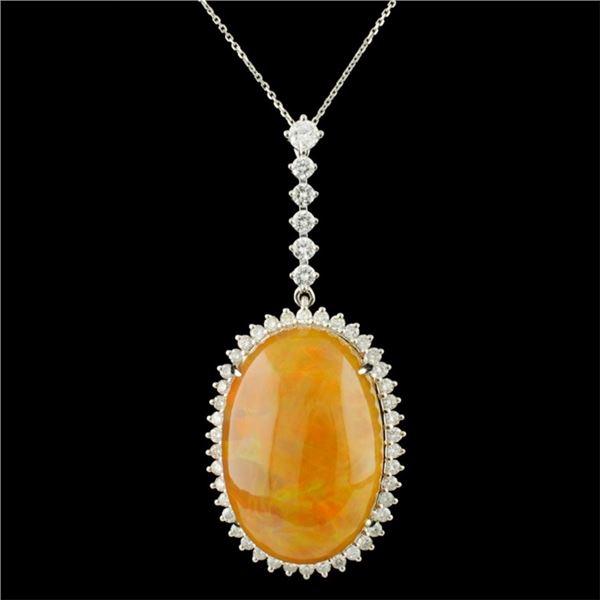 18K Gold 24.45ct Opal & 1.25ctw Diamond Pendant
