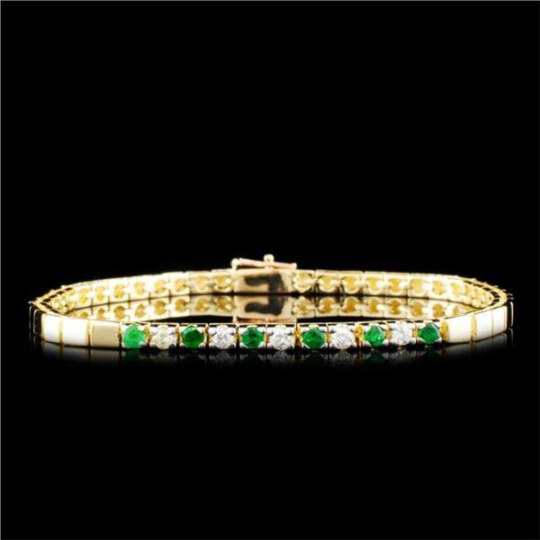14K Gold 0.32ctw Emerald & 0.24ctw Diamond Bracele