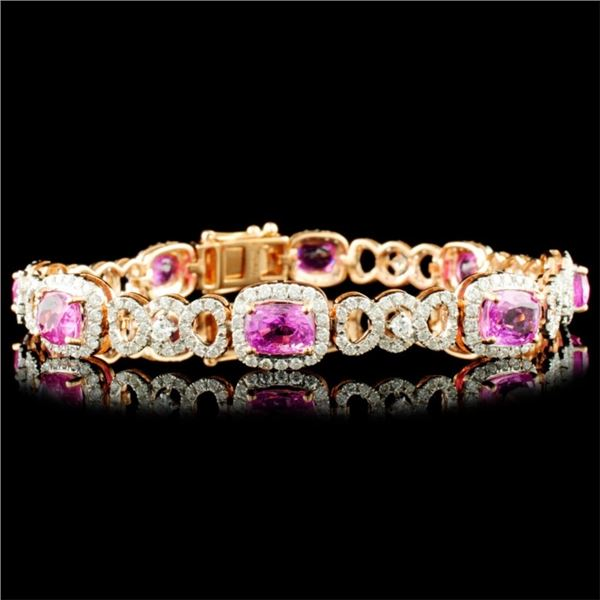 18K Gold 10.54ct Sapphire & 2.69ctw Diamond Bracel