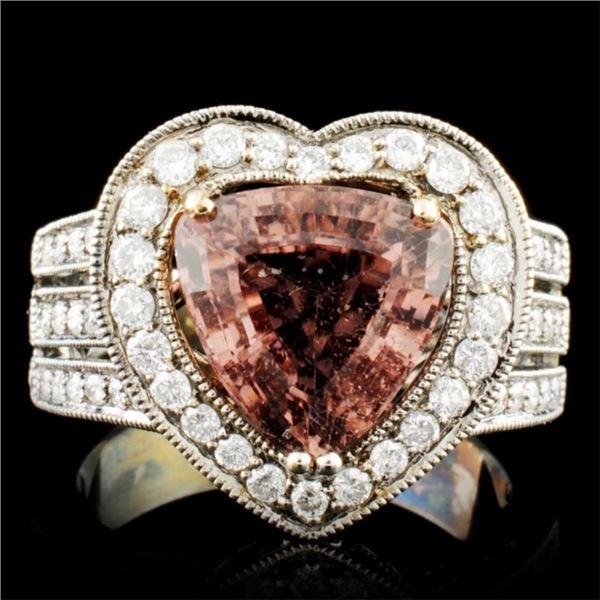 18K Gold 3.49ct Tourmaline & 0.88ctw Diamond Ring